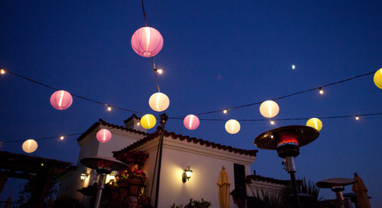 Santa barbara string lights japanese lanterns ams entertainment